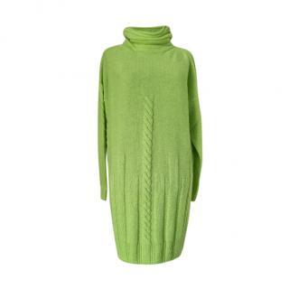 Weekend Max Mara Green Cable Knit Jumper Dress