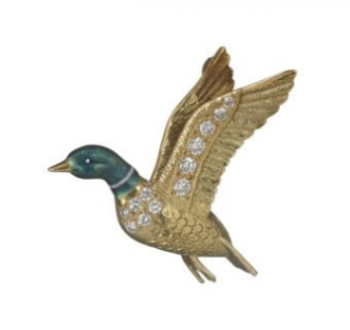 William & Son Yellow Gold & Diamond Flying Mallard Brooch