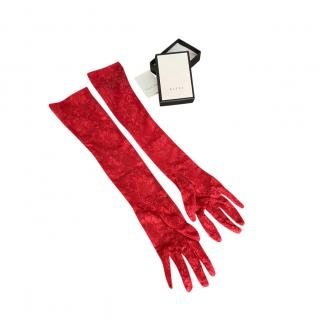 Gucci Floral Lace Red Elbow Gloves - Size 7.5