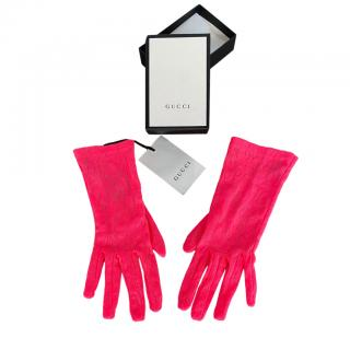 Gucci Neon Pink Lace Floral Gloves - Size 7