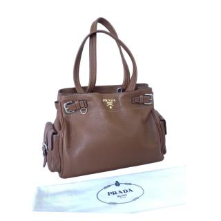 Prada tan pebbled leather shoulder tote bag