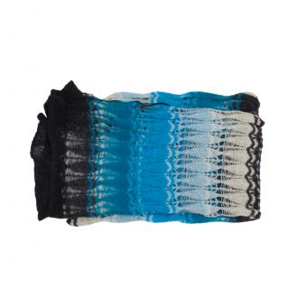 Missoni Blue Ombre Knit Long Scarf