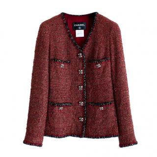 Chanel red and black tweed embellished button jacket