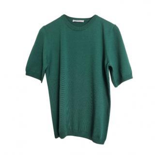 Max Mara Green Wool Short Sleeve Jumper