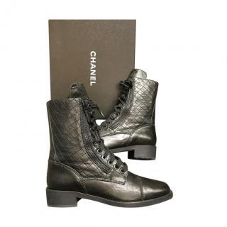 Chanel Black Diamond Stitch Lace-Up Biker Boots
