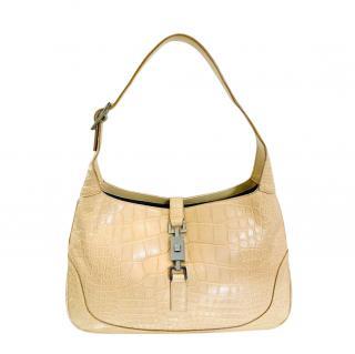 Gucci Soft Beige Crocodile Leather Jackie Bag
