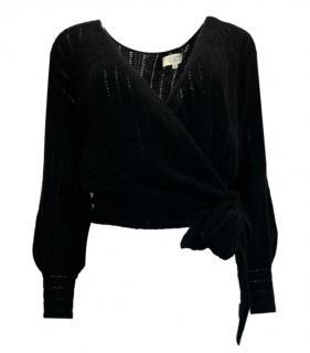 Sezane Black Mohair & Wool Self Tie Knit Wrap Jumper
