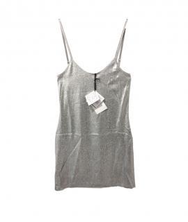 Paco Rabanne Silver Metallic Knit Mini Dress