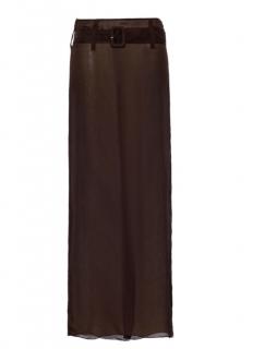 Prada Brown Silk Chiffon Belted Maxi Skirt