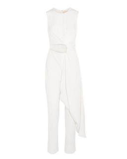 Roksanda Ivory Thurloe Draped Cutout Jersey And Crepe Jumpsuit