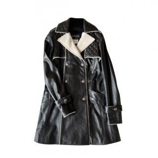 Chanel Black Lambskin Ivory Tweed Trimmed Trench Coat
