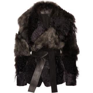 Donna Karan Leather Trimmed Patchwork Shearling Coat
