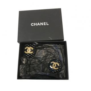 Chanel 95' Vintage 3.5cm Round CC Gold Plated Earrings