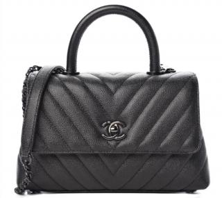 Chanel Caviar Leather So Black Mini Coco Top Handle Bag