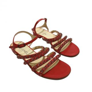 Chanel Red Leather Chain Strap Flat Sandals