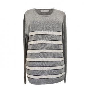 Max Mara Grey Striped Wool & Cashmere Jumper