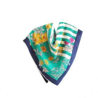Loewe Blue & Green Silk Printed 90cm Scarf