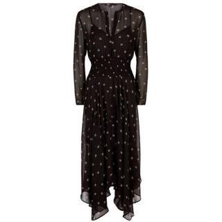 Make Black Printed Chiffon Ramini Dress