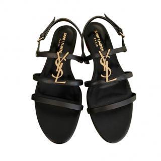 Saint Laurent Black Leather Cassandra Flat Sandals