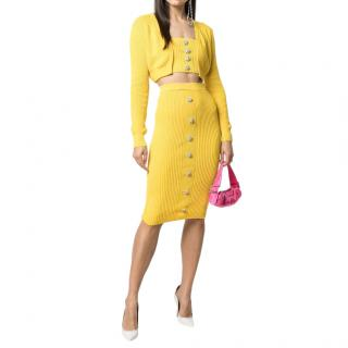 Giuseppe Di Morabito Yellow Ribbed Button Down Cardigan & Midi Skirt
