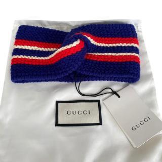 Ganni Blue Wool Web Twist Headband