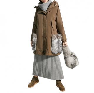 Weekend Max Mara Khaki Fox Fur Trim Coat