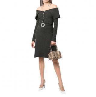 Giuseppe Di Morabito Khaki Merino Wool Off-Shoulder Top & Skirt