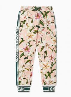 Dolce & Gabbana Kids Pink Lily Print Track Pants