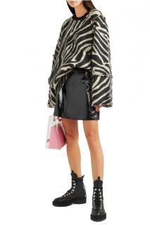 Alexa Chung Merino Wool Blend Zebra Jumper