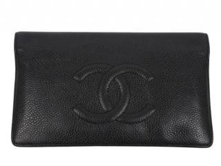 Chanel Black Caviar Leather CC Bi-Fold Wallet