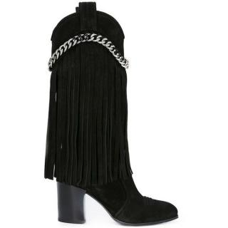 Casadei fringed suede chain detailing boots