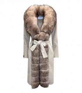 Loro Piana Fox Fur & Alpaca Beige Wrap Coat