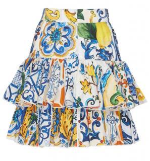 Dolce & Gabbana Tiered Sicily Print Skirt