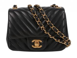 Chanel Black Chevron Square Mini Flap Bag