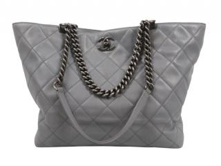 Chanel Grey Quilted Leather Double Strap Tote Bag