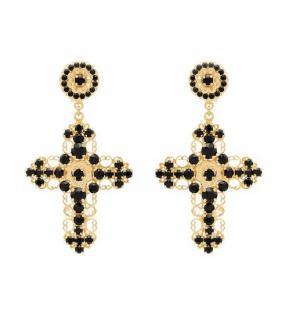 Dolce & Gabbana Black & Gold Crystal Cross Earrings