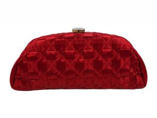 Chanel Red Woven Satin Timeless CC Clutch
