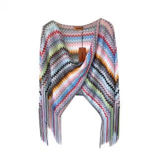 Missoni Zig Zag Knit Fringed Poncho