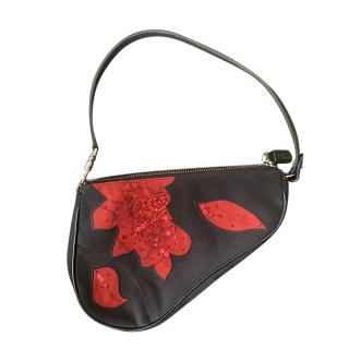 Dior by John Galliano Black & Red Floral Small Saddle Bag