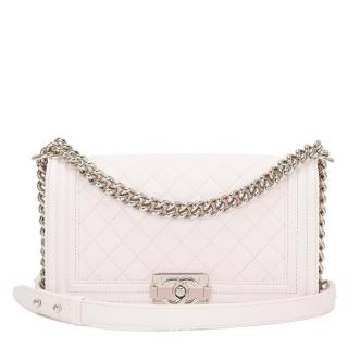 Chanel White Quilted Leather Medium Boy Bag