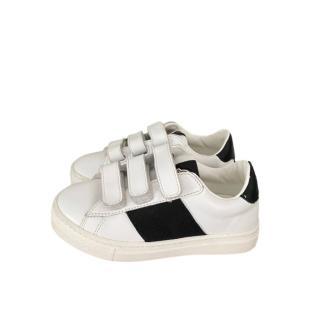 Moncler White & Black Kids 26 Velcro Sneakers