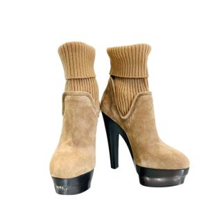 Le Silla Beige Suede & Ribbed Knit Sock Boots