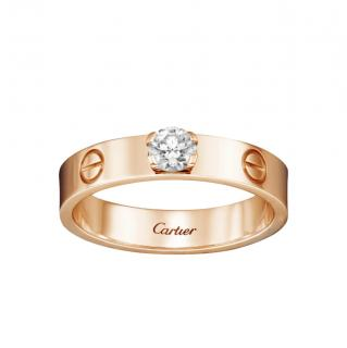 Cartier 18kt Rose Gold Solitaire Diamond Love Ring