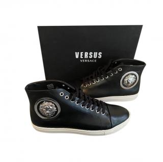 Versus Versace Black Leather High Top Sneakers