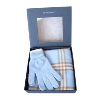 Burberry Blue Lambswool Check Gloves & Scarf