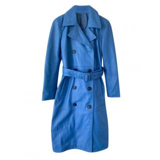 2nd Day Blue Leather Classic Trench Coat