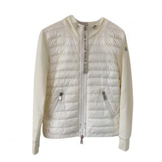 Moncler Cream Wool Blend Down Maglia Cardi-Jacket
