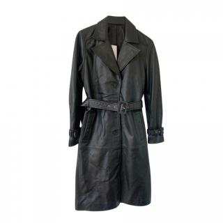 2nd Day Black Leather Classic Trench Coat