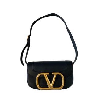 Valentino Garavani Supervee Black Leather Shoulder Bag