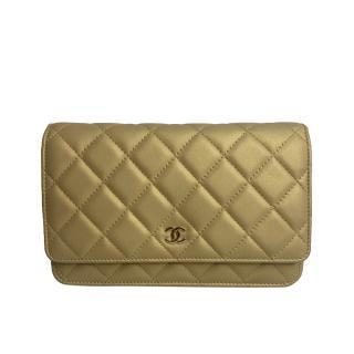 Chanel Golden Iridescent Lambskin Wallet On Chain